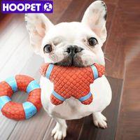 Dog Toys жует HOOPET PET CAT CEW Сквиженная звуковая стойкость для укуса резиновой пятиконечной звезды / круга