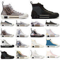 Designer Sneakers schräg, Männer Frauen Technisches Leder High Low B23 Blumen Platform 19ss Outdoor Freizeitschuhe Vintage mit Box