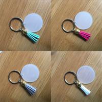 4cm Anahtar 2 45tw G2 Mevcut Dayanıklı Tutucu Püskül Şeffaf Disk Akrilik Anahtarlık Luggages Ve Çanta Dekorasyon Multicolor çaldırır