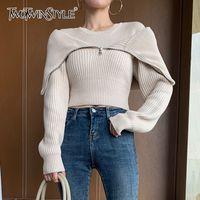 Twotwinstyle falso dois camisola curta para as mulheres o pescoço de manga longa patchwork zipper casual tricotagem feminino 2020 outono lj201113