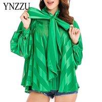 عارضة المرأة الأخضر شريط بلوزة ربيع جديد القوس التعادل الأزياء النسائية قميص فضفاض الصلبة طويلة الأكمام قمم الصيف ينزو YT802 201126