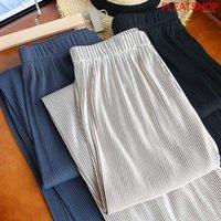 Pantalones de pierna de ancho de cintura alta, triple, triple, triple, triple, pliegues, pliegues rectos, pantalones largos, primavera y verano1