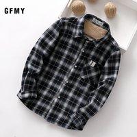 GFMY 2020 verano 100% algodón manga llena de moda camisa de tela escocesa de terciopelo Casual 3T-12T Niños Plus niño grande ropa puede ser un abrigo