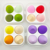 4 pcs makeup egg storage box water drop oblique cut puff sup...