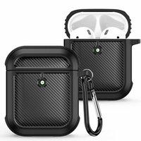 Kohlefaser-Design-Silikon-Schutzhülle für Airpods 1 und 2 Generation Airpods Pro 3 Wireless Kopfhörerabdeckung mit Karabiner