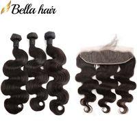 Lote de encaje frontal de la armadura del pelo humano con el brasileño onda del cuerpo pelo sin procesar 4pcs de colores naturales de 10-34 pulgadas de envío gratuito Bella Cabello