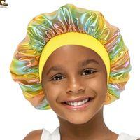 Çocuklar Lazer Banyo Kaporcusu Çocuk Erkek Kız Duş Kap Satin Gece Uyku Kapaklar Saç Bakımı Kap Kafa Kapak Wrap Beanies Skullies GG12208