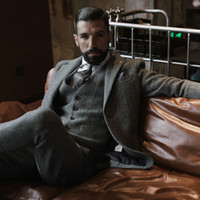 Темно-серая шерстяная свадьба смокинги шерстяной еловий Tweed Slim Fit мужские костюмы (куртка + жилет + брюки) ферма выпускного жениха деловая одежда плюс размер