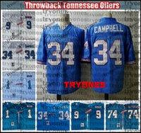 Vintage Oilers Football Jerseys 1 Warren Moon 34 Earl Campbell 9 Steve McNair 74 Bruce Matthews Nähte Hemden Stickerei Blue BB7