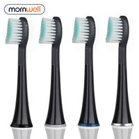 Mornwell 4PCS سوداء المطاعم استبدال فرشاة الأسنان رؤساء مع قبعات ل مورنيندويل D01B فرشاة الأسنان الكهربائية 201116