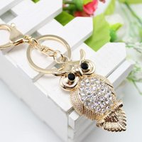 البومة حجر الراين المفاتيح للنساء حقيبة قلادة شيك كريستال سيارة مفتاح سلسلة حلقة حامل الأزياء والمجوهرات
