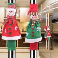 Decoraciones de Navidad Nevera Microondas Horno Lavavajillas las manija del patrón protector de muñeco de nieve para el hogar aparatos de cocina JK2011PH
