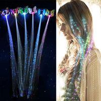 Flash LED Hair Light Emitting Fiber Optic Pigtail Braid Plait butterfly Luminous Hair Wig KTV Party Prom Supplies Hair Accessory headdress
