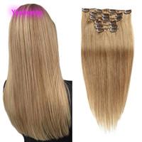 Индийская Реми 14-24 дюйма в волосах 1 # 2 # 4 # 8 # 10 # Цветные прямые клипы на наращиваниях волос 100% человеческие волосы