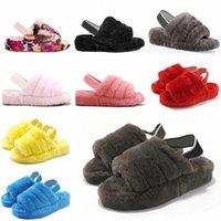 2021 Kadın Kürklü Terlik Kabartmak Yeah Slayt Sandal Avustralya Bulanık Yumuşak Ev Bayanlar Bayan Ayakkabı Kürk Kabarık Sandalet Erkek Kış Slip 63A5 #