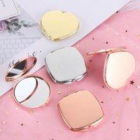 1PC Espejo de baño de doble cara plegables portátiles de Ronda en forma de corazón fácil de abrir metal de oro rosa de bolsillo accesorios de maquillaje Herramientas