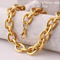 "8/11/13 / 15mm Fashion Gold Tone Womens Mens Acciaio inox Rolo Rolo Oval Link Collane o Bracciale 8-40 ""1"