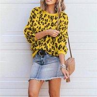 Frauen Gestrickt Lose Pullover Pullovers Casual Damen Leoparden Gedruckt Übergroße Puffhülse Pullover Camo Winter Herbstpullover