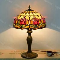 Tischlampe Dia 30cm Europäische Retro-Buntglas Aluminiumlegierung Rot Tulpe 110V 220V E27 für Wohnzimmer Esszimmer Schlafzimmer Bar DHL