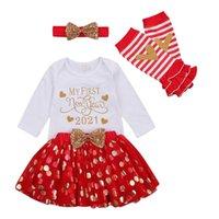 Pudcoco 0-Bebek Kız İlk Yeni Yılım 2021 Mektup Baskı Uzun Kollu Bodysuit + Nokta Örgü Etek + Pullu Yay + Bacak Isıtıcıları LJ201221