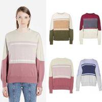 Французский стиль толстовки цвета сопоставление старинные уплотнительные шеи с длинным рукавом улица пуловер толстовки мода весна летняя свитер рубашка