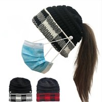 Women Knitted Cap With Hole Button Ponytail Beanie Lattice Hat Outdoor Caps Winter Warm Casual Knitting Hats LJJP688-2