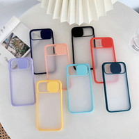 Caméra Slide Protection Lens Case pour iPhone 11 pro xs max 7 8 Plus Phone Case Matte Protect transparent clair antichocs Cover