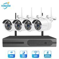 Wireless Camera Kits Wheezan CCTV Security System Kit 1080P 4CH NVR WIFI Home Überwachung Outdoor Night Vision 2TB HDD IP-Set