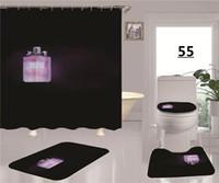 Bouteille de parfum rêveuse Douche Rideau Rideau Retro Tapis Lettre Rideau Décorer le rideau de designer noir de style populaire pour salle de bain
