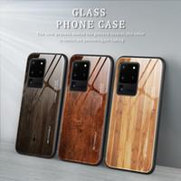 Cam Ahşap Tahıl Telefon Kılıfı Samsung S20 Fe Moda Samsung A71 S9 DHL Ücretsiz Nakliye için Darbeye Koruyucu Kapak