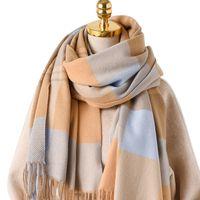 Écharpe à carreaux Écharpe Tartan Femmes hiver épais châssel châle en or Soft Cashmere Soft Softmere Foulard à chaud 200 * 70cm