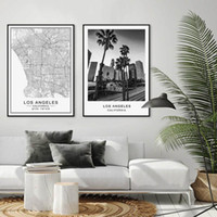 Los Angeles City Map Modern Building Landscape Canvas Painti...