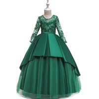 2019 Teen party Girls Wedding Dress Long sleeve Lace flower Party Tulle high-end Princess Birthday Dress Gown for Girls 4-14 ye