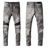 Herren amiri Jeans Klassische Hip Hop Hosen Stylist Jeans Distressed Ripping Biker Jean Slim Fit Motorcycle Denim Jeans O4pq