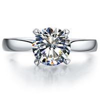 Sterling Zilveren Sieraden Merk Ring Solitaire Engagement 1 Carat NSCD Gesimuleerde Diamond Ring Prongs Anniversary Sieraden Schip uit de VS.
