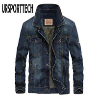Ursportech denim jaquetas homens casaco escuro azul casual adolescentes jaqueta jaqueta de algodão colarinho comprido manga comprida Bomber jackets1