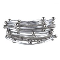 Charme Braceletes Couro Multicamado para Mulheres 2021 Design Trendy 3 Cores Beads Double Wrap Bangles Jóias1