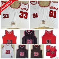 Retro 23 Jersey Scottie 33 Pappen Jersey Dennis 91 Rodman Jersey 1996 رجالية الرجعية شبكة كرة السلة الفانيلة S-XXL