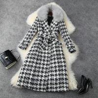 Avrupa ve Amerikan kadın giyim 2020 kış yeni stil uzun kollu kürk yaka ekose baskı dantel-up moda tüvit ceket