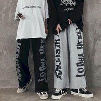 Calças masculinas Mens Loose Reta perna Casual Casal Japonês desgaste Calças de perna larga 2021 outono preto tendência hip hip