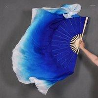 Royal Blue White Gradient Belly Dance Silk Weils 1 пара коротких бамбуковых складных вентиляторов Янгенский танец 51см-86см длина1