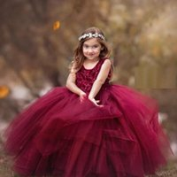 Cheap Lace Pearls Flower Girl Dresses Ball Gown Little Girl Pageant Dresses Wedding Dresses Vintage Communion Gowns