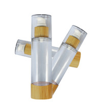 100 x 30ml 50ml 80ml 120ml Bamboo Empty Plastic Cosmetic Sample Containers Emulsion Lotion Vacuum Airless Pump Bottles
