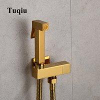 Mano tenuto Bidet Spruzzatore Douche Toilet Kit Bidet Faucet Gold Brass Quadrato Shattaf Doccia Doccia Doccia Valvola di rame Set Jet Bidet Faucet Q0112