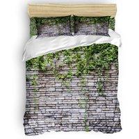 Постельные принадлежности Кирпичная стена Винтажный стиль плющ растение одеяла набор 2/3 / 4шт постельное белье наволочки
