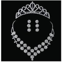 패션 크리스탈 신부 액세서리 라인 석 웨딩 쥬얼리 세트 목걸이 귀걸이 크라운 신부 신부 결혼식 무료 배송 608 K2