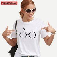 여성용 티셔츠 미학 빈티지 T 셔츠 소녀 Streetwear 해리 플래시 안경 그래픽 여성 포터 - 연인 슬림 하라주쿠 의류 Camisa1