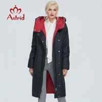 Astrid jaqueta de inverno mulheres contraste de cor longos e grossos roupas de algodão com tampa e mulheres casaco quente zíper parka AT-6703 201012