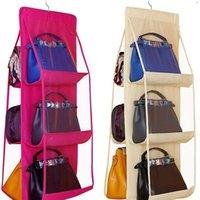 Casa 6 bolsos bolsa bolsa bolsa de armazenamento saco de pendurado livros organizador guarda-roupa guarda-roupa cabide dupla face dobrável transparente yyb4237