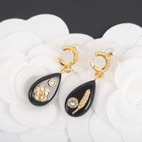 2021 핫 세일 웨딩 쥬얼리 선물을위한 검은 수지와 다이아몬드와 함께 핫 세일 고급스러운 품질 드롭 귀걸이 무료 배송 PS3545
